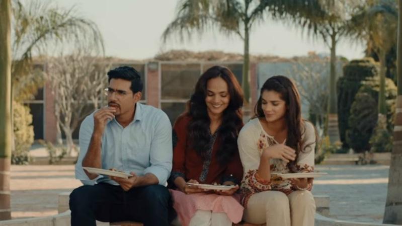 Faris Khalid, Aamina Sheikh, and Sanam Saeed (L-R) play tumultuous siblings in Cake.