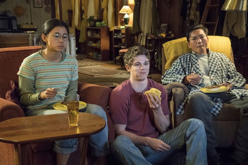 From left to right: Leah Lewis, Daniel Diemer, Collin Chou in The Half of It.