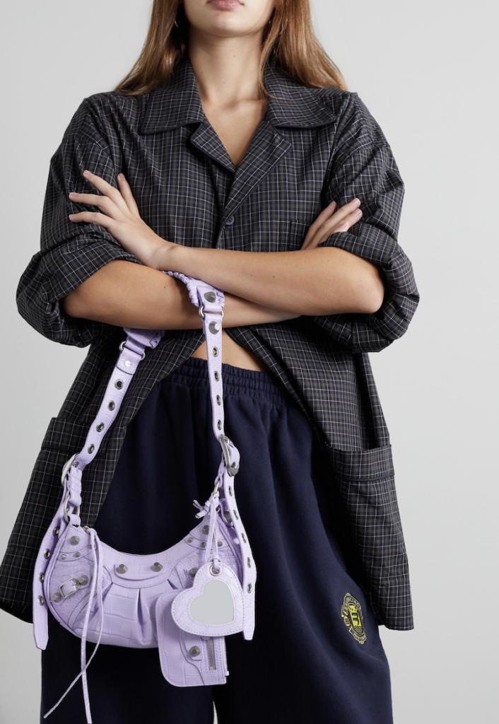 Cagole XS studded croc-effect leather shoulder bag - Balenciaga